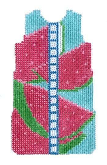Watermelon Shift on 14 Painted Canvas Two Sisters Needlepoint
