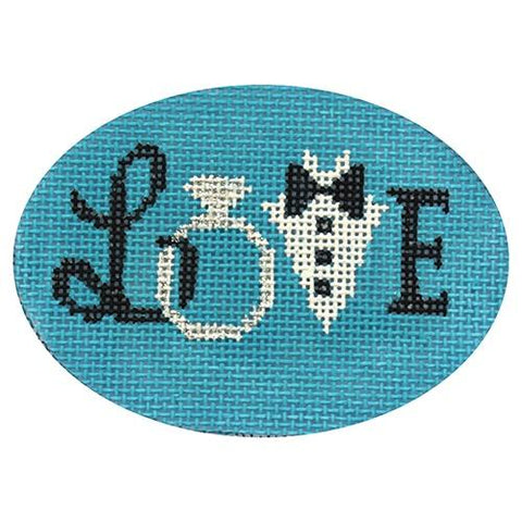 Wedding Love on Blue Painted Canvas Alice Peterson Company