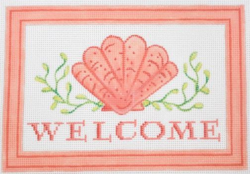 Welcome (Scallop) Painted Canvas Kate Dickerson Needlepoint Collections