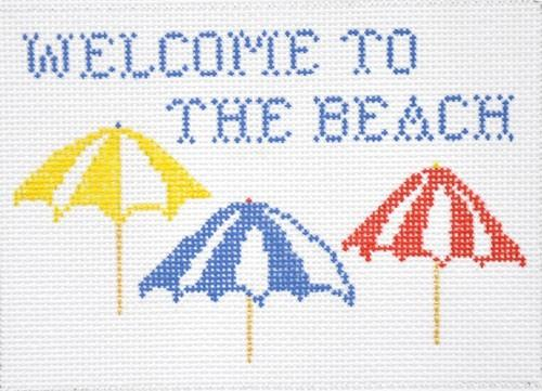 Welcome to the Beach Painted Canvas All About Stitching/The Collection Design