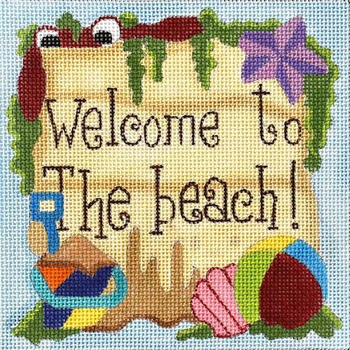 Welcome to the Beach Painted Canvas Raymond Crawford Designs