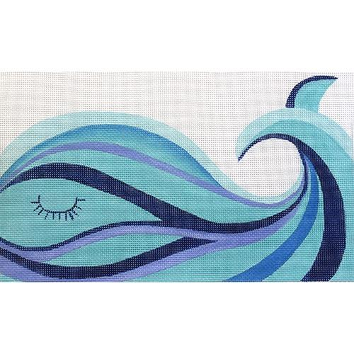Whale with Swirls Painted Canvas Oasis Needlepoint