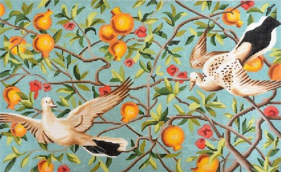 White Birds and Pomegranates Painted Canvas Colors of Praise