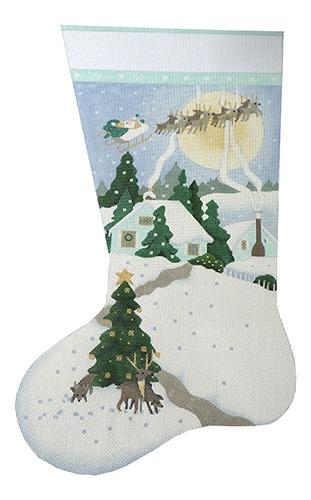 White Christmas Stocking Painted Canvas Melissa Shirley Designs
