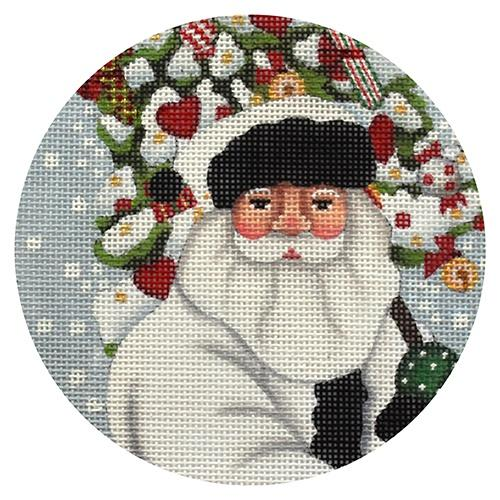 White Coat Santa with Tree Ornament Painted Canvas Melissa Shirley Designs