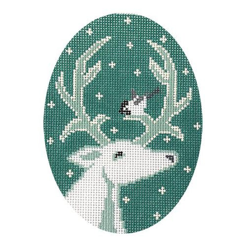 White Deer Ornament Painted Canvas 3K Designs