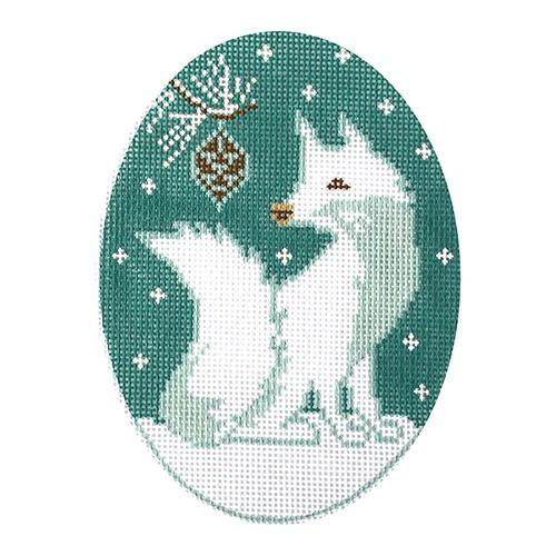 White Fox Ornament Painted Canvas 3K Designs