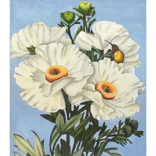 White Poppies Painted Canvas Melissa Shirley Designs