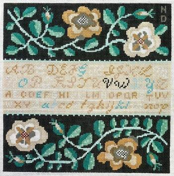 White Rose Sampler Painted Canvas Birds of a Feather