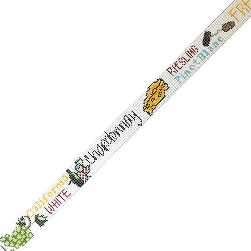 White Wine Lingo Belt Painted Canvas The Meredith Collection