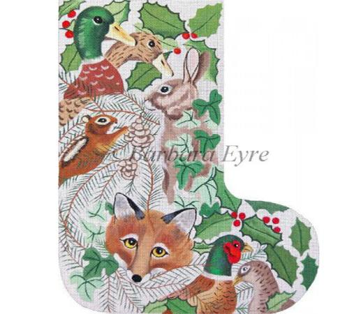 Wildlife Heads Stocking Painted Canvas Susan Roberts Needlepoint Designs Inc.
