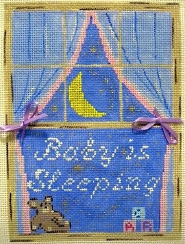 Window Baby Sleeping Painted Canvas Winnetka Stitchery Design