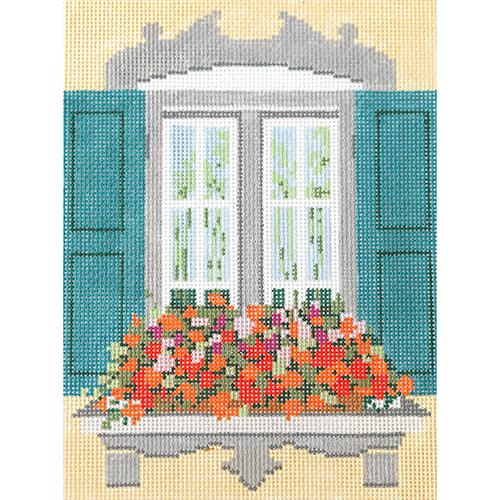 Window - Formal Garden Painted Canvas The Meredith Collection