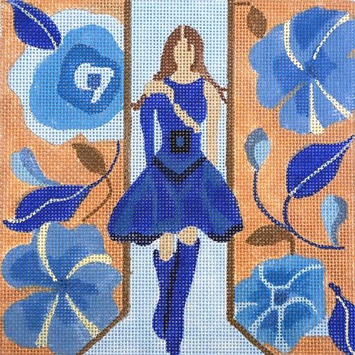 Windows of Milan - Blue Dress Painted Canvas Melissa Prince Designs