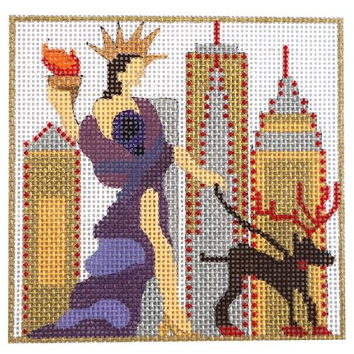 Windows of NY - Saks with Stitch Guide Painted Canvas Melissa Prince Designs