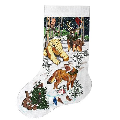Winter Animals Christmas Stocking Painted Canvas The Meredith Collection