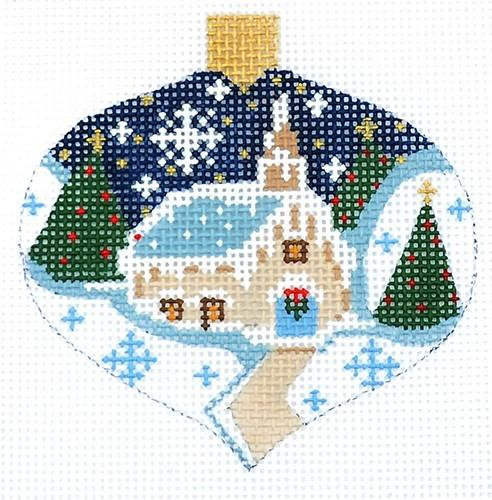 Winter Church Ornament Painted Canvas Danji Designs
