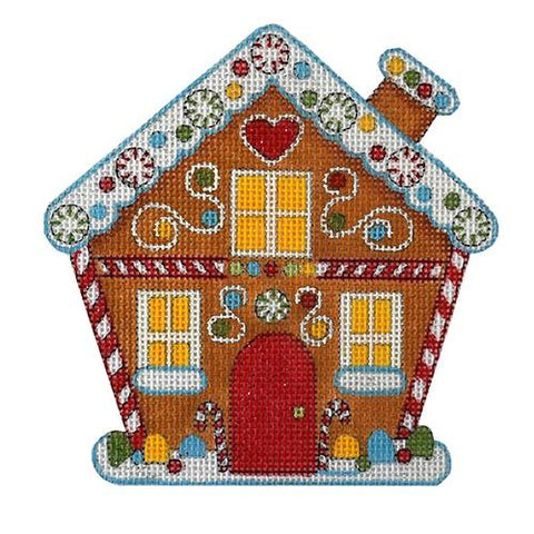 Winter Gingerbread House Painted Canvas All About Stitching/The Collection Design