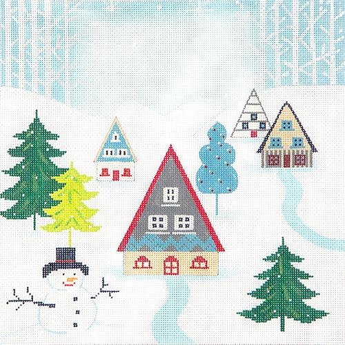 Winter Scene Pillow II Painted Canvas Alice Peterson Company