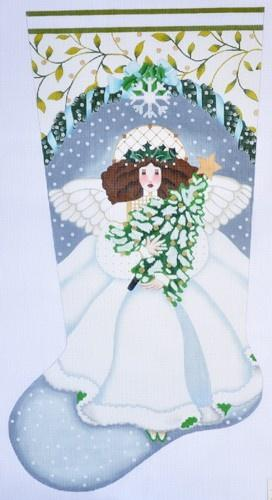 Winter White Angel Stocking Painted Canvas Melissa Shirley Designs