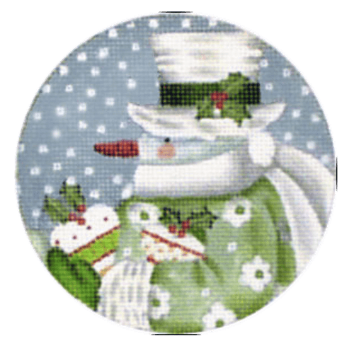 Wintergreen Snowman Ornament Painted Canvas Melissa Shirley Designs