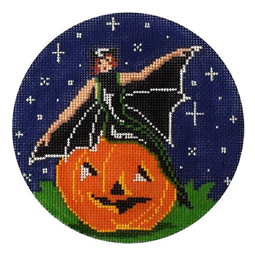Witch on a Pumpkin Painted Canvas The Meredith Collection