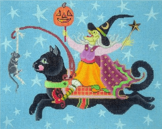 Witch on Black Cat Painted Canvas Brenda Stofft Designs
