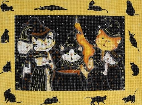 Witchy Kitties Painted Canvas Maggie Co.