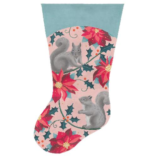 Woodland Poinsettia Stocking Painted Canvas Abigail Cecile