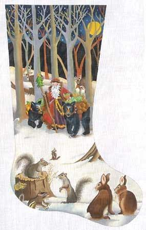 Woodland Santa Stocking Painted Canvas Julie Mar Needlepoint Designs