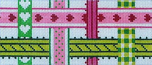 Woven Ribbons - Pink & Green Painted Canvas Kate Dickerson Needlepoint Collections