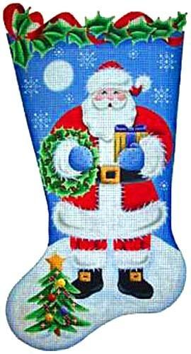 Wreath Santa Stocking Painted Canvas Rebecca Wood Designs