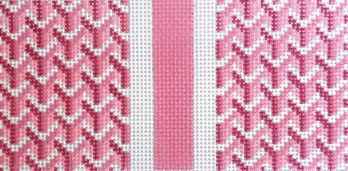 Y Pattern Eyeglass Case - Pink Painted Canvas Anne Fisher Needlepoint LLC