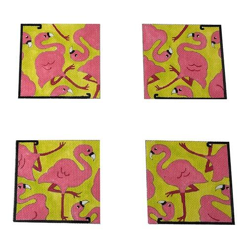 Yard Art (Pink Flamingos) Coasters Painted Canvas The Meredith Collection