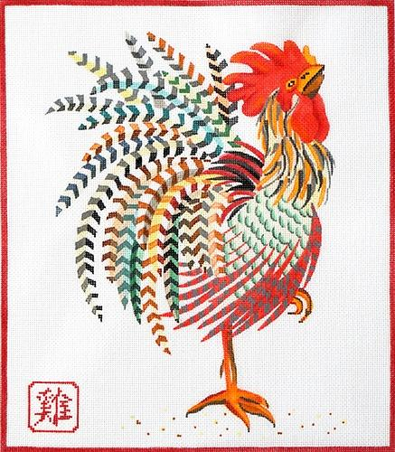 Year of the Rooster Painted Canvas Kate Dickerson Needlepoint Collections