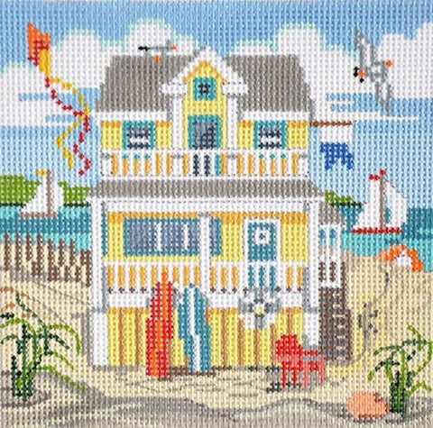 Yellow Beach House Painted Canvas Alice Peterson Company