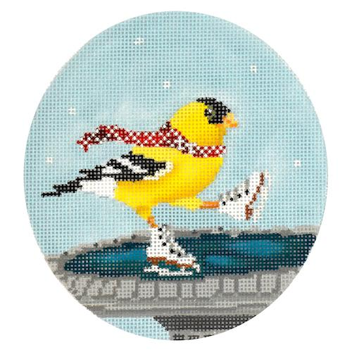 Yellow Bird Ice Skating Painted Canvas Scott Church Creative