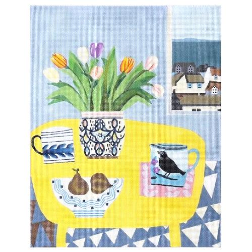 Yellow Table and Pears (C&C) Painted Canvas Melissa Shirley Designs