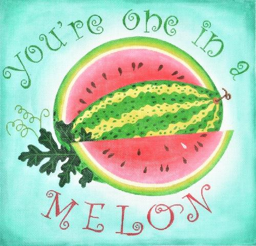 You're One in a Melon Painted Canvas Kate Dickerson Needlepoint Collections