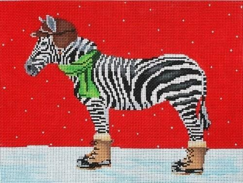 Zebra Dressed for Winter Painted Canvas Scott Church Creative