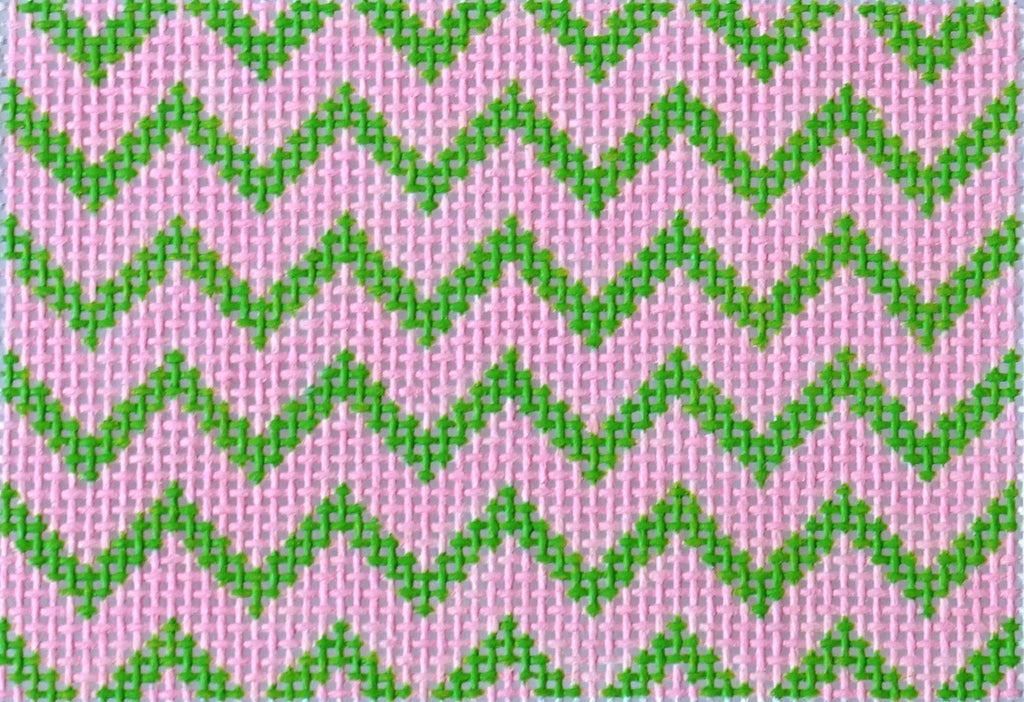 Zig Zag - Pink & Lime Painted Canvas Kate Dickerson Needlepoint Collections