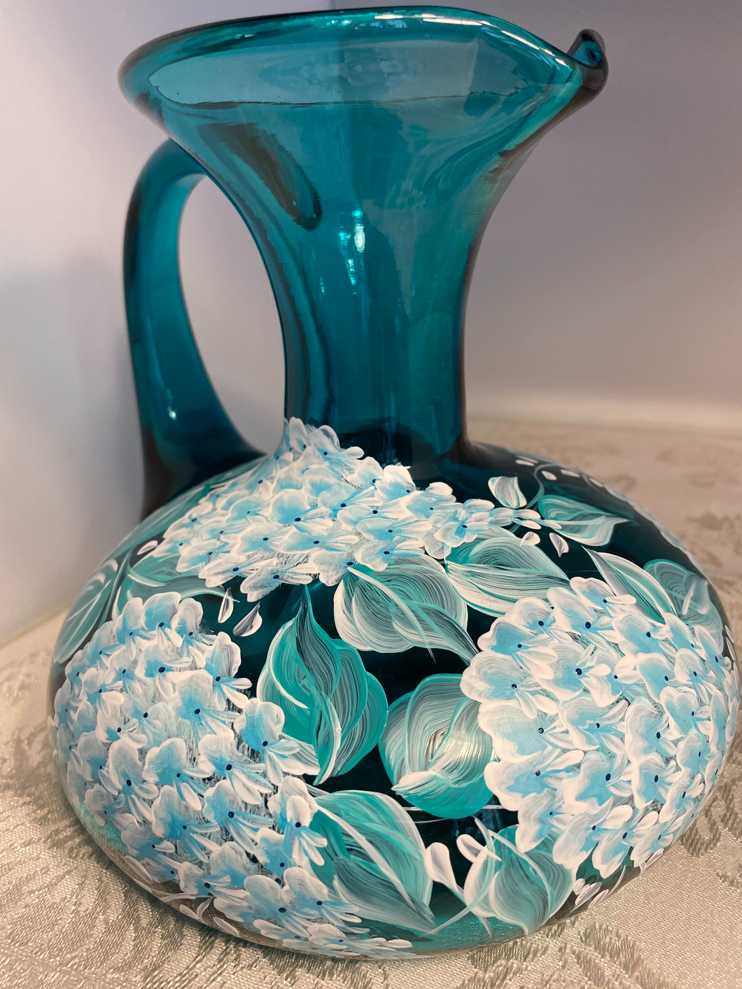 Hand Painted Aqua Glass Pitcher with White Wisteria Design. Hand Blown One Of A Kind Pitcher and Art Gift. Hand Made Glass Pitcher.