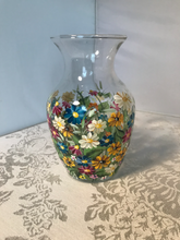Hand Painted Small Glass Vase with Wildflower Garden Florals for Birthday, House Warming or Hostess Gift