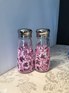 Hand Painted Pink and White Floral Salt and Pepper Shakers for Housewarming, Hostess, and Birthday Gifts