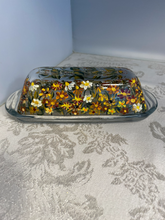 Hand Painted Autumn Wildflower Butter Dish for House Warming, Hostess, and Thanksgiving Gift. Fall Floral Decor