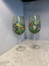 Hand Painted Floral Wine Glasses with Colorful Unique Design for Anniversary, Shower, Wedding and Birthday Gift. Springtime Garden Glass