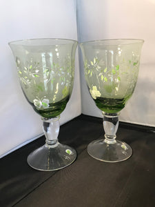 Mint Green Lenox Water Goblets - Ivy Cottage Art Gifts