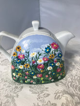 Hand Painted Teapot with WildflowerGarden Design for Wedding, Engagement, Shower , Birthday and Mother's Day Gift