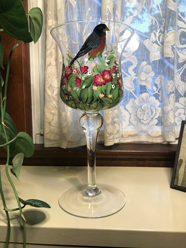 Robin In Spring Garden Candle Holder