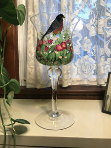 Robin In Spring Garden Candle Holder - Ivy Cottage Art Gifts